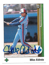 Mike Aldrete Signed 1989 Upper Deck Baseball Card - Montreal Expos