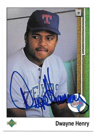 Dwayne Henry Signed 1989 Upper Deck Baseball Card - Texas Rangers
