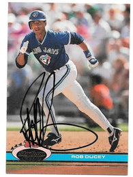 Rob Ducey Signed 1991 Topps Stadium Baseball Card - Toronto Blue Jays - PastPros