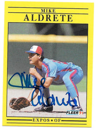 Mike Aldrete Signed 1991 Fleer Baseball Card - Montreal Expos