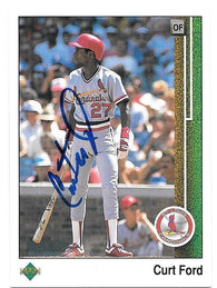 Curt Ford Signed 1989 Upper Deck Baseball Card - St Louis Cardinals