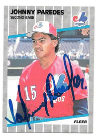 Johnny Paredes Signed 1989 Fleer Baseball Card - Montreal Expos