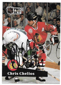 Chris Chelios Signed 1991-92 Pro Set Hockey Card - Chicago Blackhawks