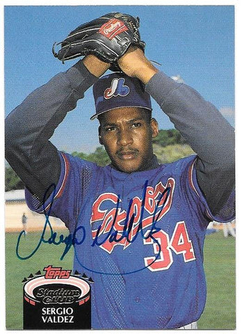 Sergio Valdez Signed 1992 Topps Stadium Club Baseball Card - Montreal Expos
