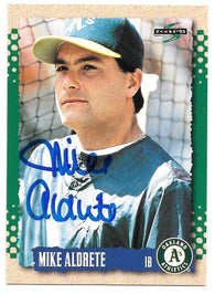 Mike Aldrete Signed 1995 Score Baseball Card - Oakland A's