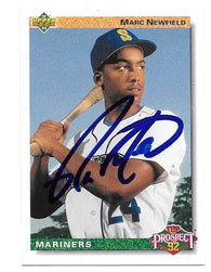 Marc Newfield Signed 1992 Upper Deck Baseball Card -  Seattle Mariners