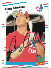 Casey Candaele Signed 1988 Fleer Baseball Card - Montreal Expos - PastPros