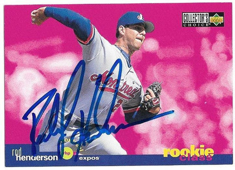 Rod Henderson Signed 1995 Collector's Choice SE Baseball Card - Montreal Expos