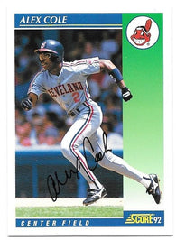 Alex Cole Signed 1992 Score Baseball Card - Cleveland Indians - PastPros