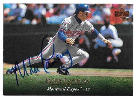 Mike Lansing Signed 1995 Upper Deck Baseball Card - Montreal Expos
