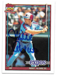 Mike Aldrete Signed 1991 Topps Baseball Card - Montreal Expos