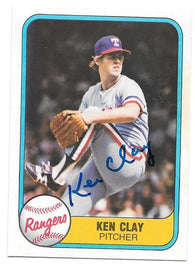 Ken Clay Signed 1981 Fleer Baseball Card - Texas Rangers - PastPros