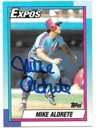 Mike Aldrete Signed 1990 Topps Baseball Card - Montreal Expos