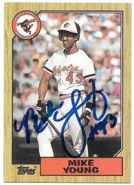 Mike Young Signed 1987 Topps Baseball Card - Baltimore Orioles