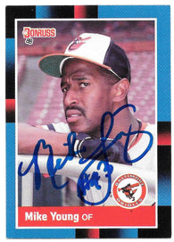 Mike Young Signed 1988 Donruss Baseball Card - Baltimore Orioles