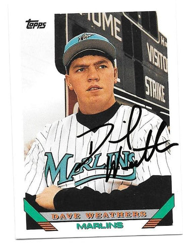 Dave Weathers Signed 1993 Topps Baseball Card - Florida Marlins - PastPros
