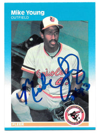 Mike Young Signed 1987 Fleer Baseball Card - Baltimore Orioles