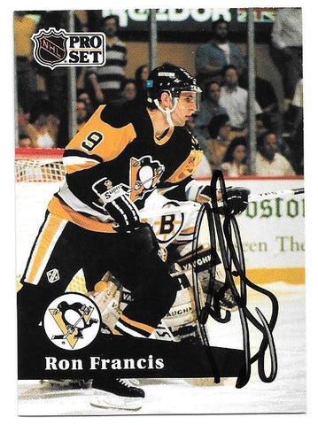 Ron Francis Signed 1991-92 Pro Set Hockey Card - Pittsburgh Penguins