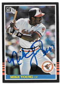 Mike Young Signed 1985 Donruss Baseball Card - Baltimore Orioles