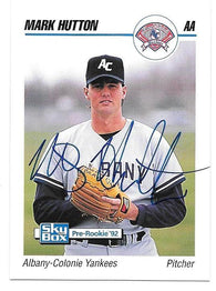 Mark Hutton Signed 1992 Skybox AA Baseball Card