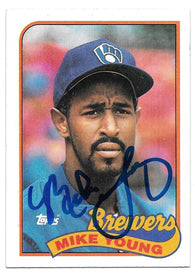 Mike Young Signed 1989 Topps Baseball Card - Milwaukee Brewers