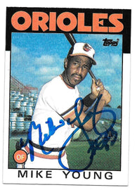 Mike Young Signed 1986 Topps Baseball Card - Baltimore Orioles