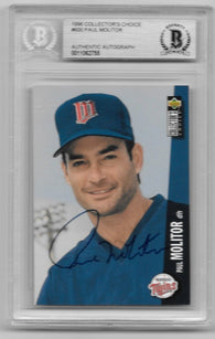 Paul Molitor Signed 1996 Collector's Choice Baseball Card - Minnesota Twins - BGS Certified - PastPros