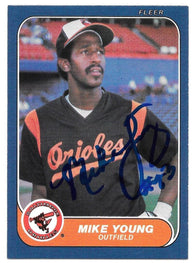 Mike Young Signed 1986 Fleer Baseball Card - Baltimore Orioles
