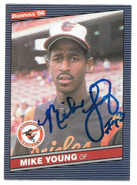 Mike Young Signed 1986 Donruss Baseball Card - Baltimore Orioles
