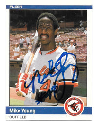 Mike Young Signed 1984 Fleer Baseball Card - Baltimore Orioles