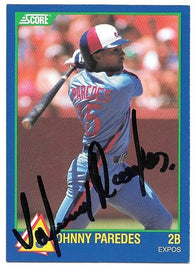 Johnny Paredes Signed 1989 Score Rookies Baseball Card - Montreal Expos