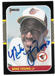 Mike Young Signed 1987 Donruss Baseball Card - Baltimore Orioles