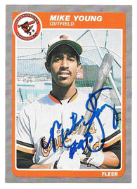 Mike Young Signed 1985 Fleer Baseball Card - Baltimore Orioles