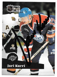 Jari Kurri Signed 1991-92 Pro Set Hockey Card - Edmonton Oilers