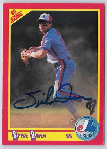 Spike Owen Signed 1990 Score Baseball Card - Montreal Expos - PastPros