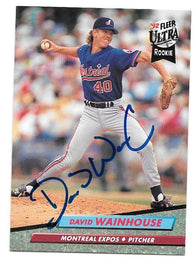 Dave Wainhouse Signed 1992 Fleer Ultra Baseball Card - Montreal Expos