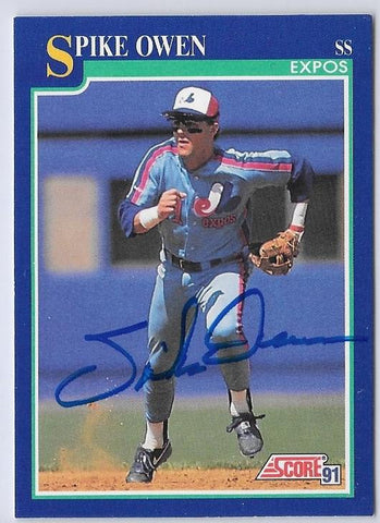 Spike Owen Signed 1991 Score Baseball Card - Montreal Expos - PastPros