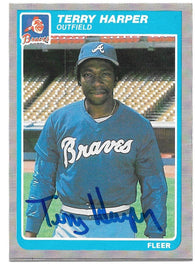 Terry Harper Signed 1985 Fleer Baseball Card - Atlanta Braves - PastPros
