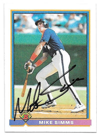 Mike Simms Signed 1991 Bowman Baseball Card - Houston Astros - PastPros