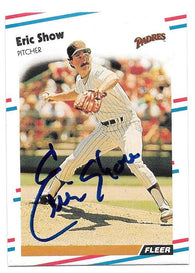 Eric Show Signed 1988 Fleer Baseball Card - San Diego Padres - PastPros