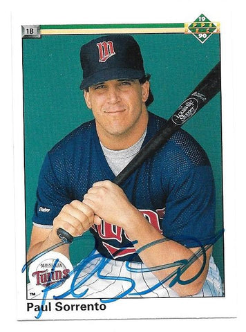 Paul Sorrento Signed 1990 Upper Deck Baseball Card - Minnesota Twins - PastPros