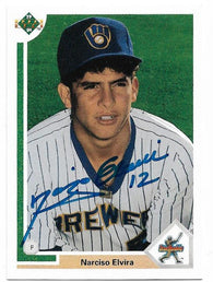 Narciso Elvira Signed 1991 Upper Deck Baseball Card - Milwaukee Brewers