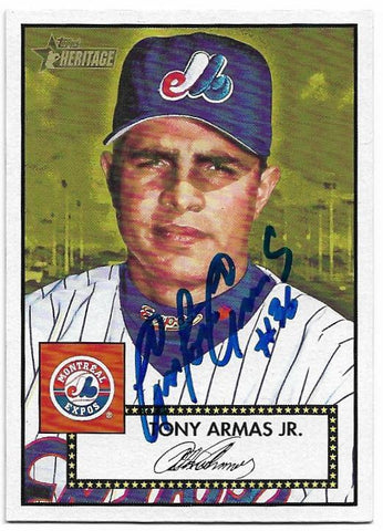 Tony Armas Signed 2001 Topps Heritage Baseball Card - Montreal Expos