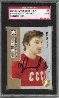 Vladislav Tretiak Signed 2005-06 In The Game H&P Hockey Card - HOF - SGC Authentication