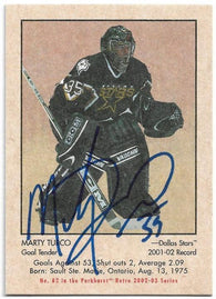Marty Turco Signed 2002-03 Parkhurst Hockey Card - Dallas Stars