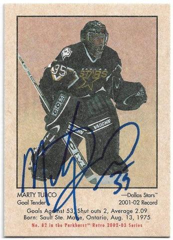 Marty Turco Signed 2002-03 Parkhurst Hockey Card - Dallas Stars - PastPros
