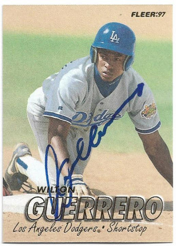 Wilton Guerrero Signed 1997 Fleer Baseball Card - Los Angeles Dodgers