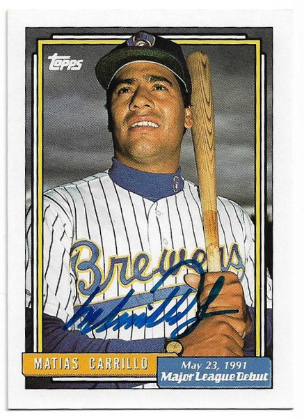 Matias Carrillo Signed 1991 Topps Major League Debut Baseball Card - Milwaukee Brewers