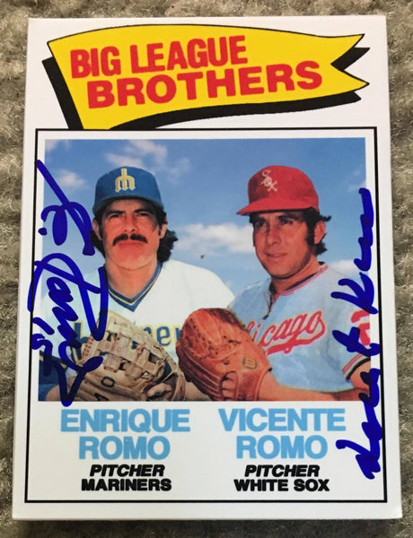 Vicente Romo & Enrique Romo Signed Custom PastPros Baseball Card