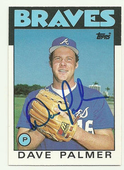 Dave Palmer Signed 1986 Topps Baseball Card - Atlanta Braves